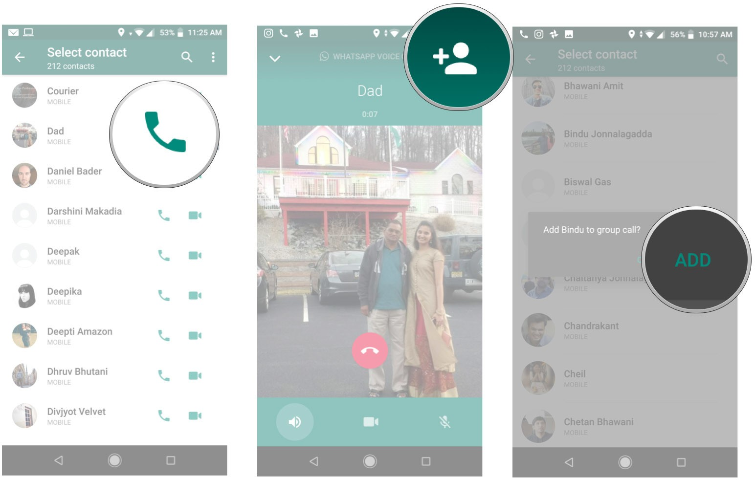 WhatsApp used the plus button to add members to a group call.