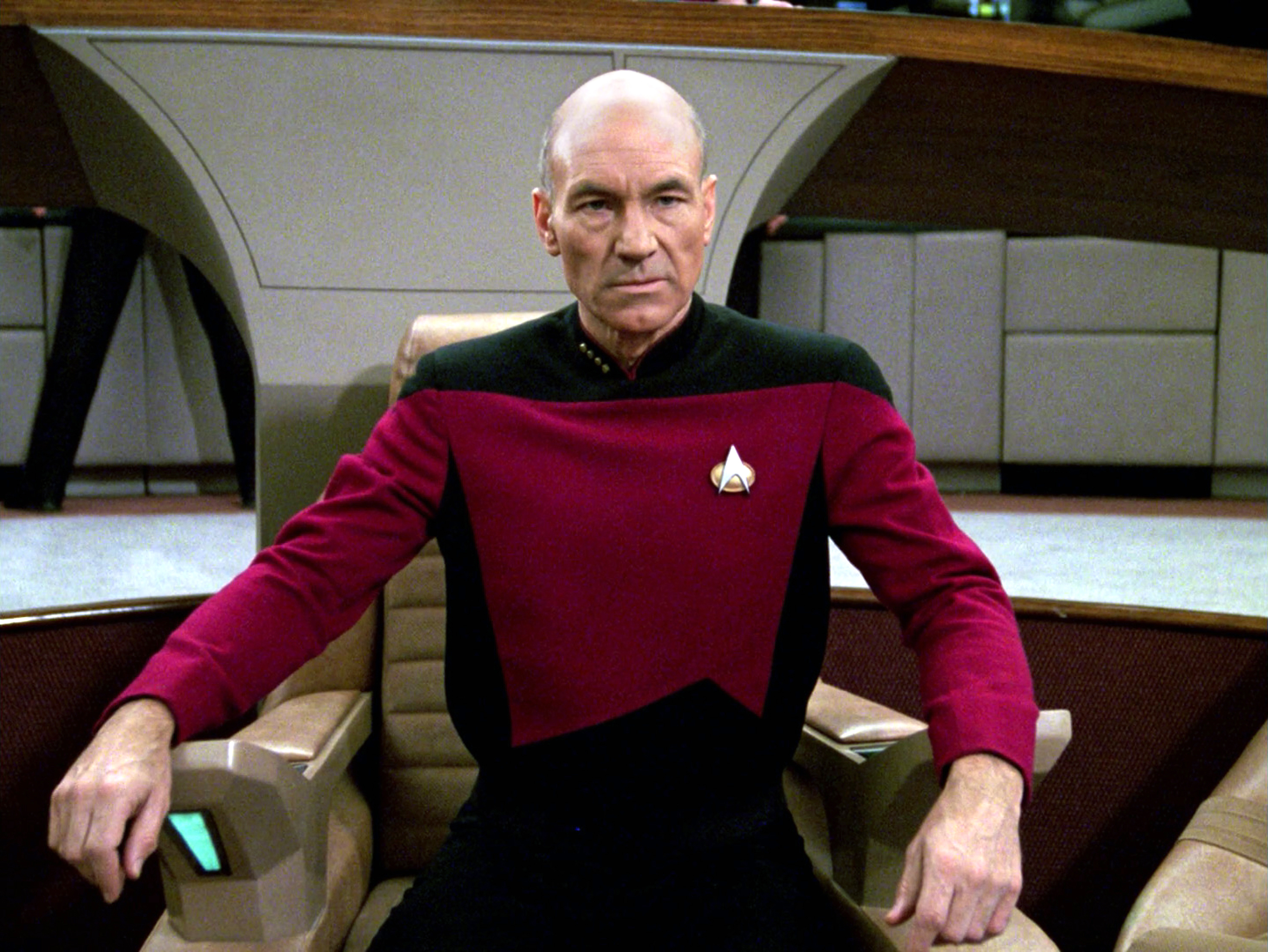"""Patrick Stewart as Captain Jean-Luc Picard in the STAR TREK: THE NEXT GENERATION episode, """"The Hunted."""" Season 3, episode 11. Original air date, January 8, 1990. Image is a screen grab. Copyright © 1990 CBS Broadcasting Inc. All Rights Reserved. Credit: CBS Photo Archive."""