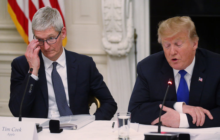 President Donald Trump and Tim Cook Apple
