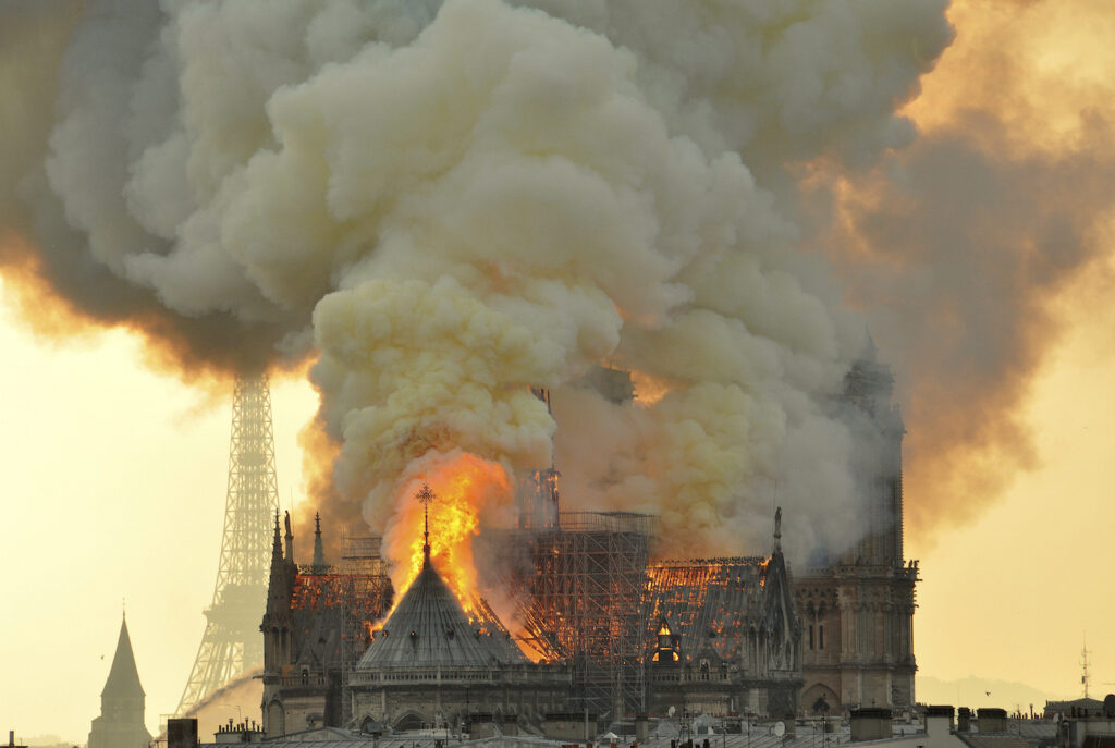 Notre Dame Cathedral of Paris blazes up in the fire