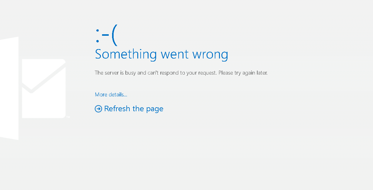 Outlook down right now error message