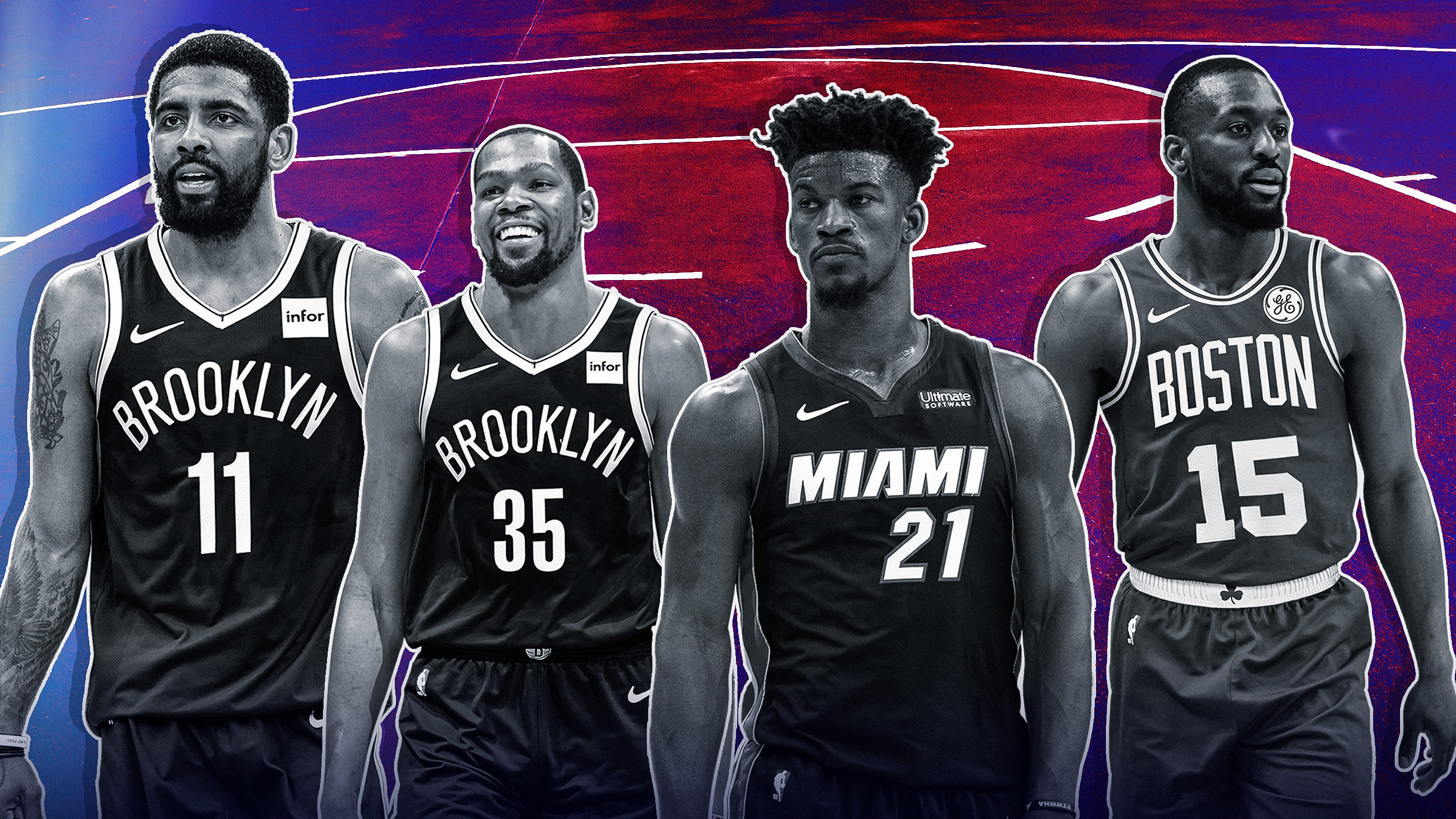 NBA trade Kevin Durant Kyrie Irving Nets Dangelo Russell Klay Thompson Warriors Jimmy Butler Miami Heat Free Agency 2019