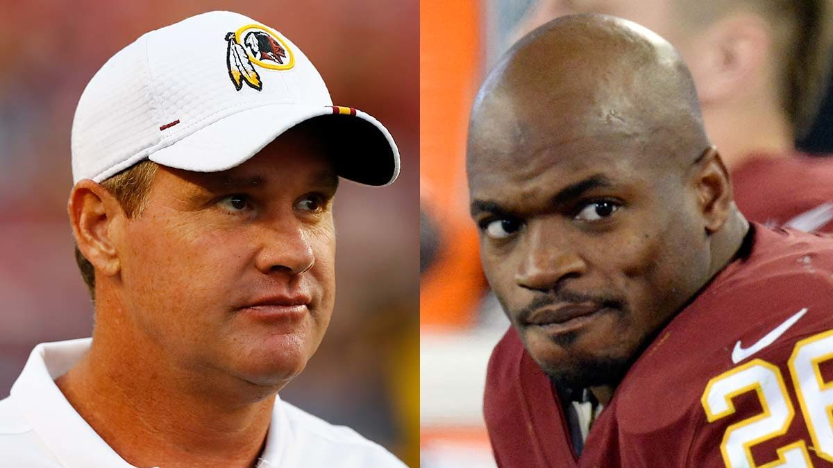 NFL Redskins Coach Jay Gruden RB Adrian Peterson