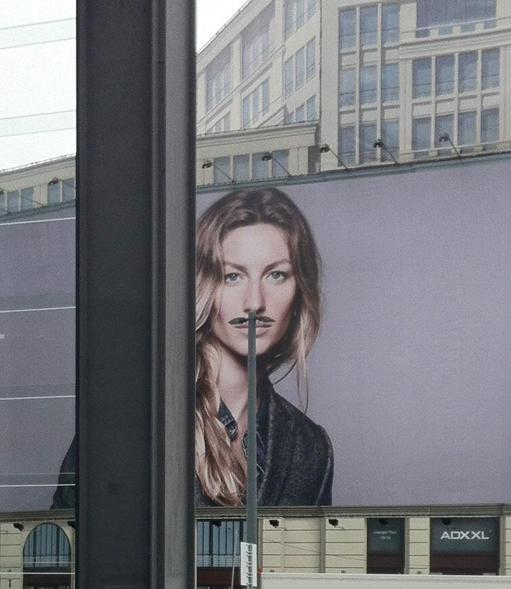 A girl with a mustache