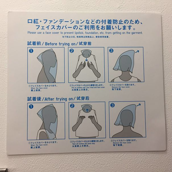 Fitting room, too has instructions