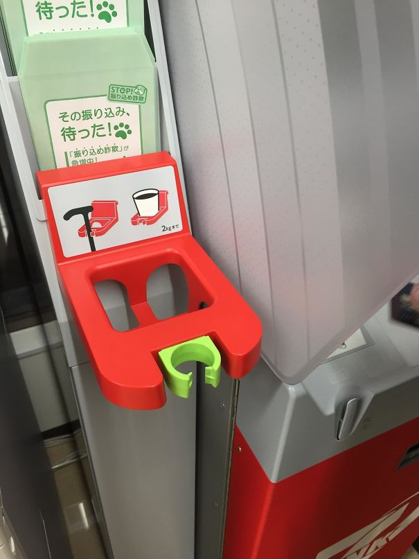 ATMs have cane holders for the elderly