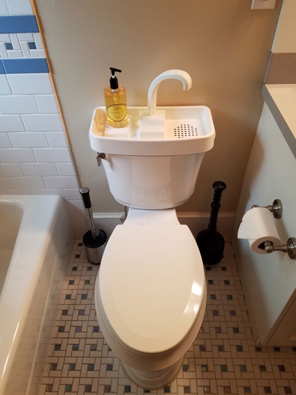 Wash your hands here, and the water will go back in the flush tank. Innovative Solution to Save Water!