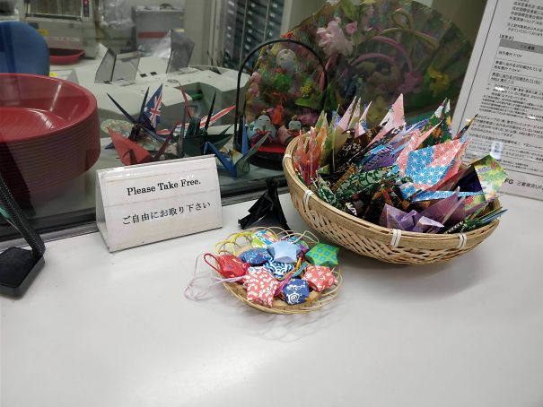 Instead of candies, Japan gives you free origami