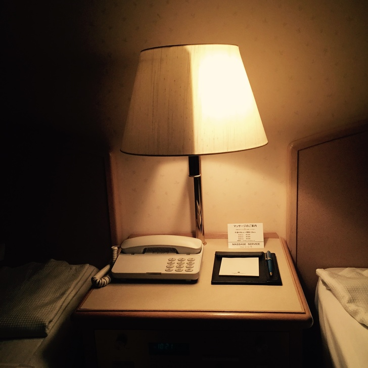 This half and half lamp in Japanese Hotel will mesmerize you for sure