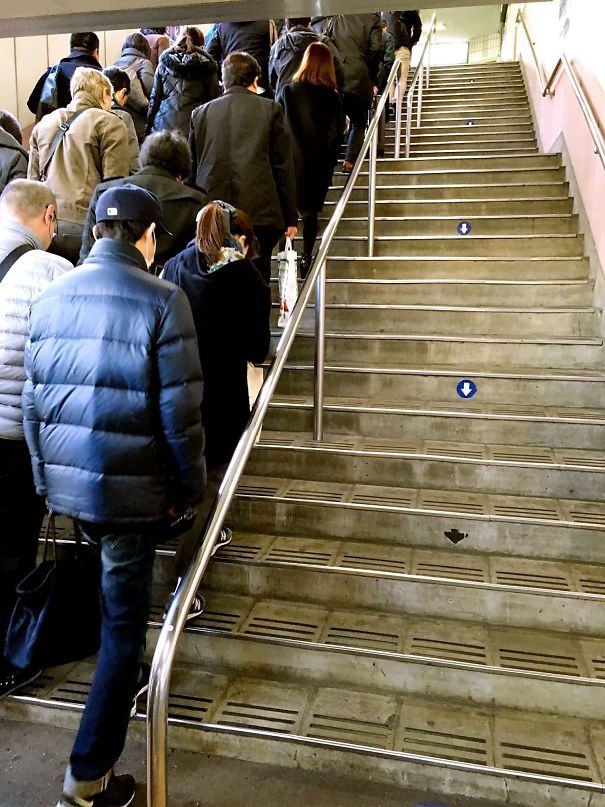 The obedient residents of Japan following the staircase rules
