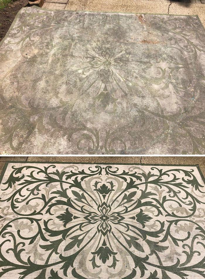 Power washing revives the intricate designs hidden in dusty rugs