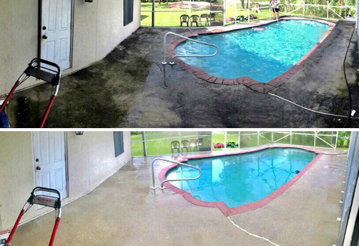 The first power wash after moving in!