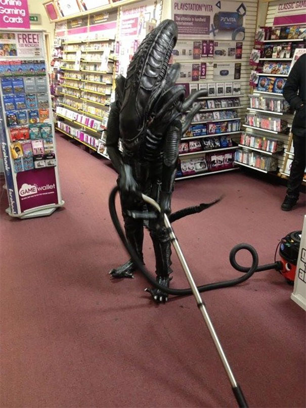 Aliens, too work as assistants at the stores