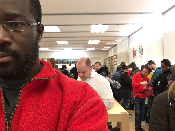 Wearing the same color short as Apple Stores