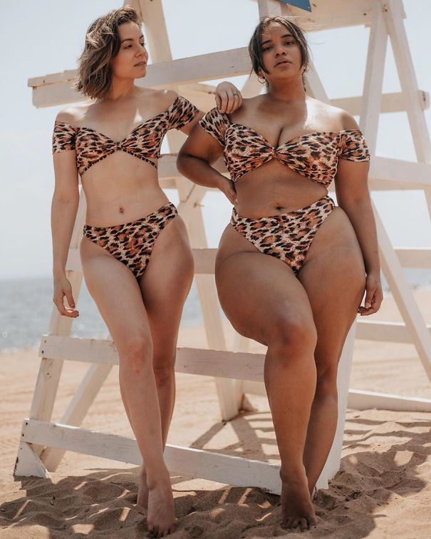 Two models in tiger prints