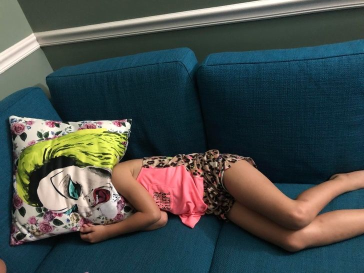 My daughter was throwing a tantrum and hid her face under a pillow