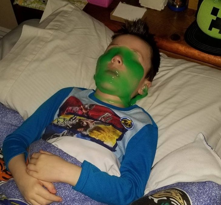 Wife and I went out one night and came home to my son sleeping like this