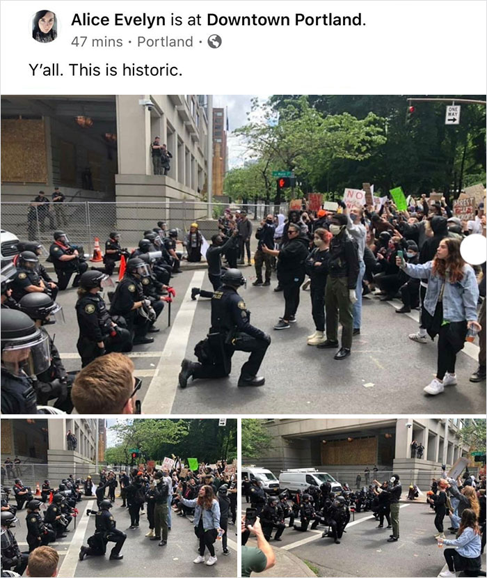 Police In Downtown Portland Are Kneeling In Front Of Protesters