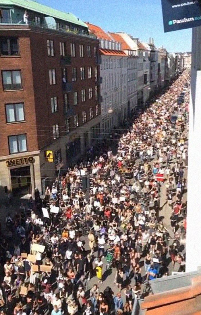 Danish Sympathy March For George Floyd. ~10.000 People Marching Peacefully Through Copenhagen.