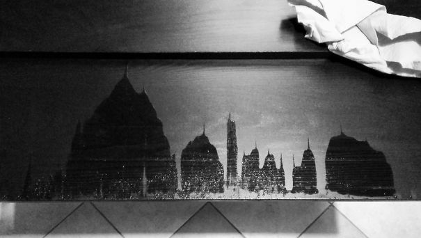 I Dropped Some Water, Opened The Table Extension To Dry And A City Landscape With Temples And Pinnacles Appeared