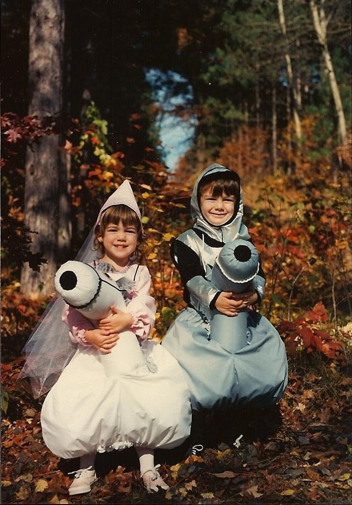 """This Is A Picture Of My Sister And I As A Princess And Knight Riding """"Horses"""" Halloween '93"""