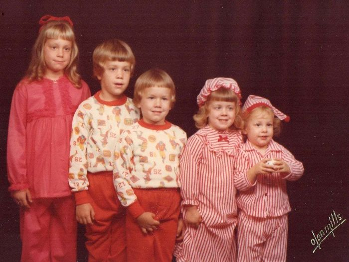 Siblings Xmas Photo Circa 1980. I'm The One Grabbing My Crotch. This Is The Picture My Parents Chose To Display