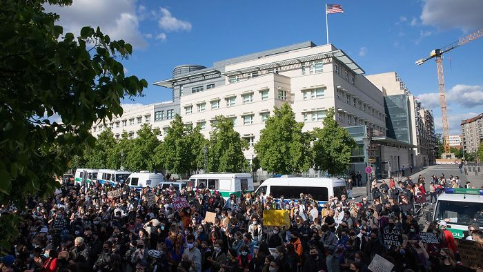 Protesters Gathering In Front Of The Us Embassy In Berlin, Germany Today. We Stand With You