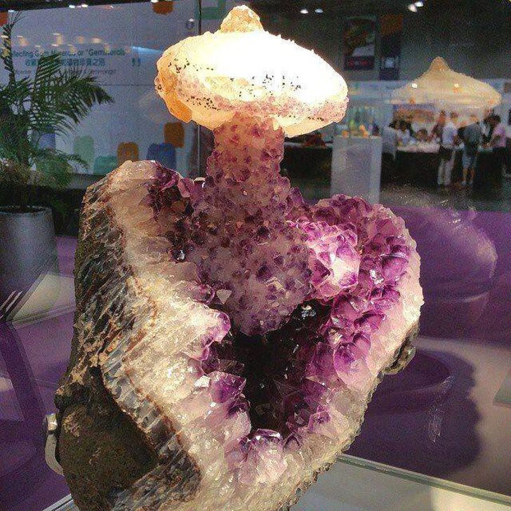 This amethyst geode with calcite looks like a nuclear explosion