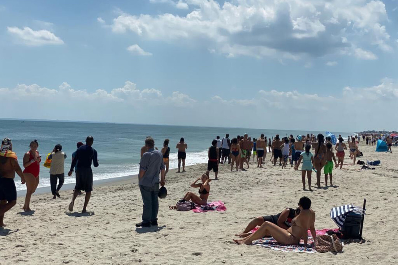 People freaked out as the shark appeared on the shore of Rockaway Beach