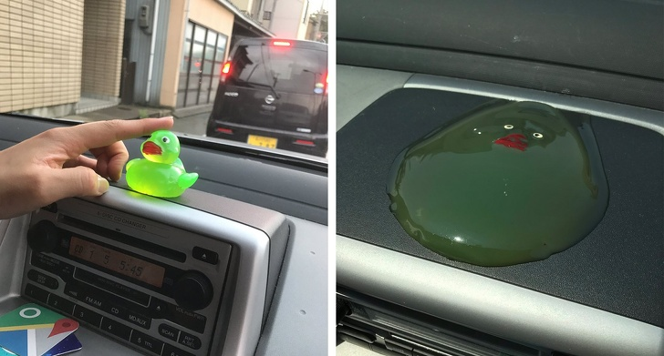 Never leave a rubber duck in a hot car