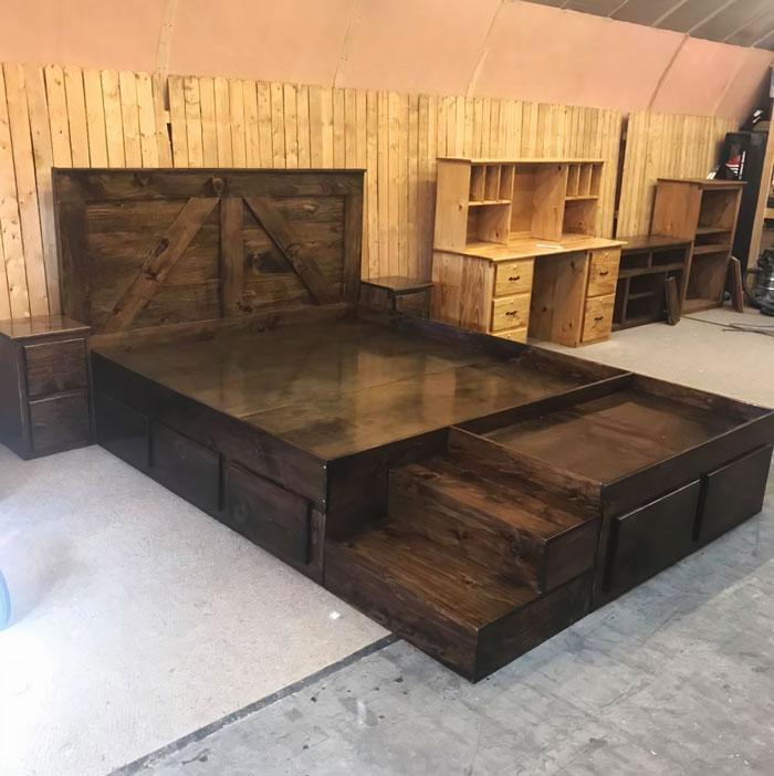 The entire set, i.e. the bed frame, nightstands, and the pet space will cost you around $1,200