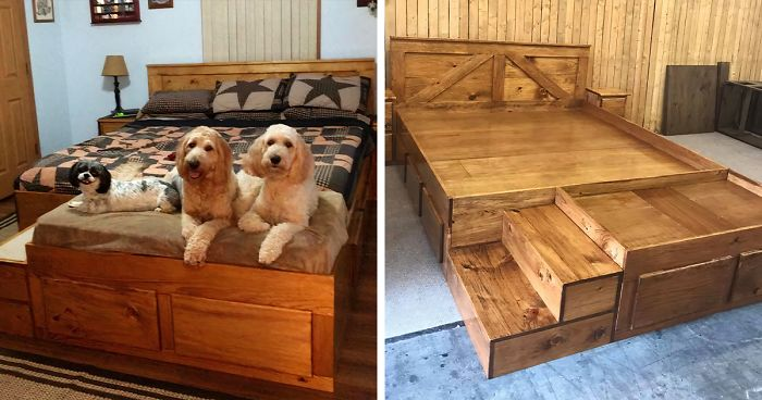 This Company Makes Custom Wooden Bed Frames With Built-In Pet Beds