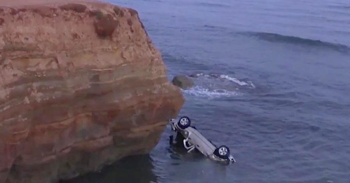 Dad Drives Off Cliff With Daughters In Car, But They All Survive Thanks To Police Officer