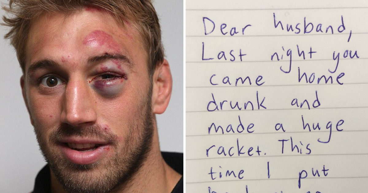 Jack wakes up with a black eye and hangover, finds wife's strange note and starts to cry
