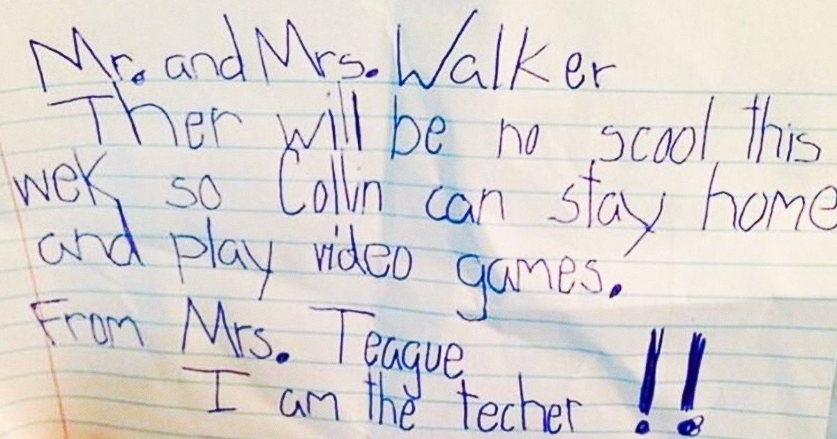 Hilarious notes from kids that are better than the story of a Hollywood movie (20 Pics)