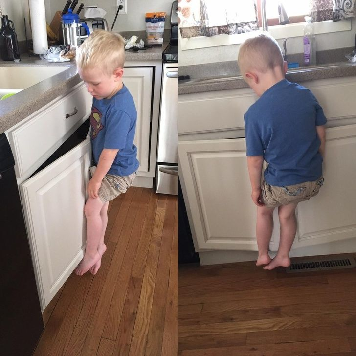 Hilarious kids: This is how my son hangs on the cupboard to wash his hands.
