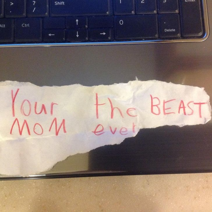 """Hilarious notes: """"East or West, My mom is the BeAst"""". Close Enough!"""
