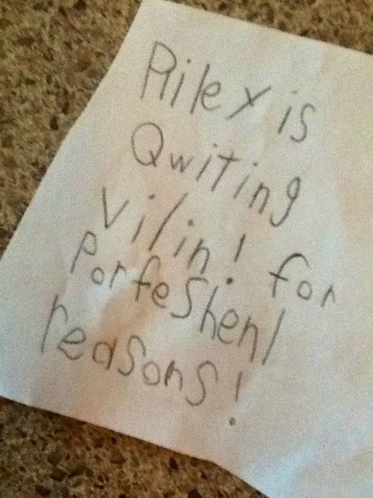 Hilarious notes: His parents refused to write a note to his violin teacher