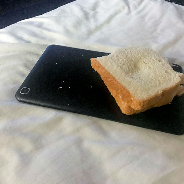 My Wife Likes To Put Her Food And Drinks On Electronics