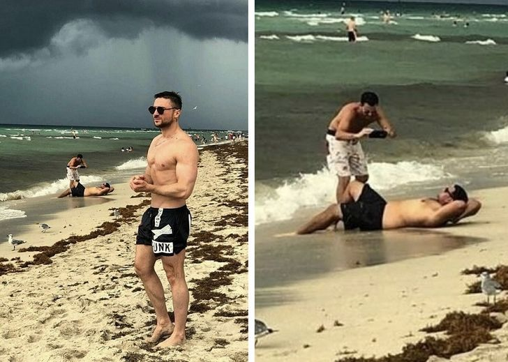 The two guys in the background surely photobombed this man's beach pics