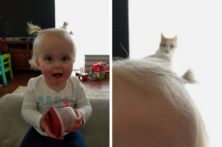This baby girl got a kitty tail!