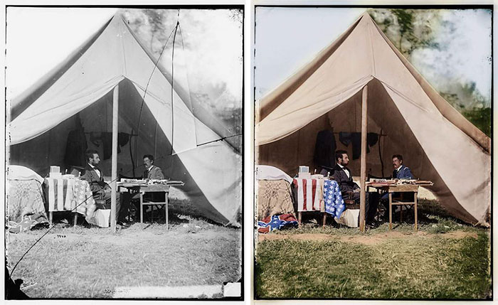 Antietam, Md. President Lincoln And Gen. George B. Mcclellan In The General's Tent 3. Okt. 1863