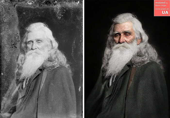 Photographer restores pictures:An Old Man, Photo by C.m.bell, Ca 1890