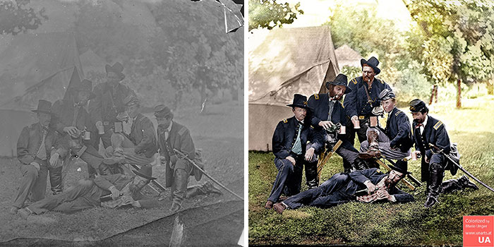 Photographer restores pictures:Westover Landing, Virginia. Officers Of 3rd And 4th Pennsylvania Cavalry Illustrating The Hardships Of War. 1862