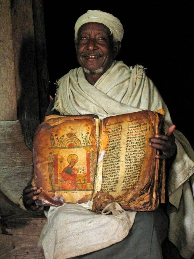 This is a photo of the world's oldest bible, the Ethiopian Bible.