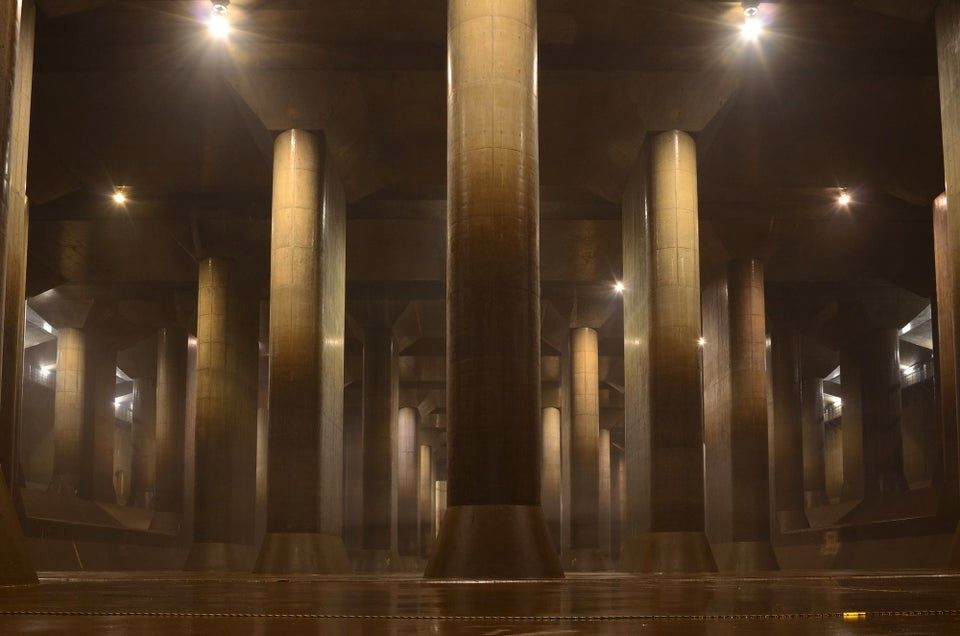 Tokyo has three cathedral-like tunnels to prevent floods as they redirect water.