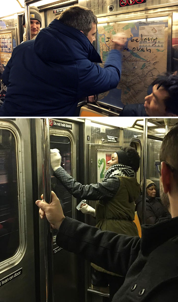 Commuters Wiped Away Anti-Semitic Graffiti They Found On A Subway Train. Within About Two Minutes, All The Symbolism Was Gone