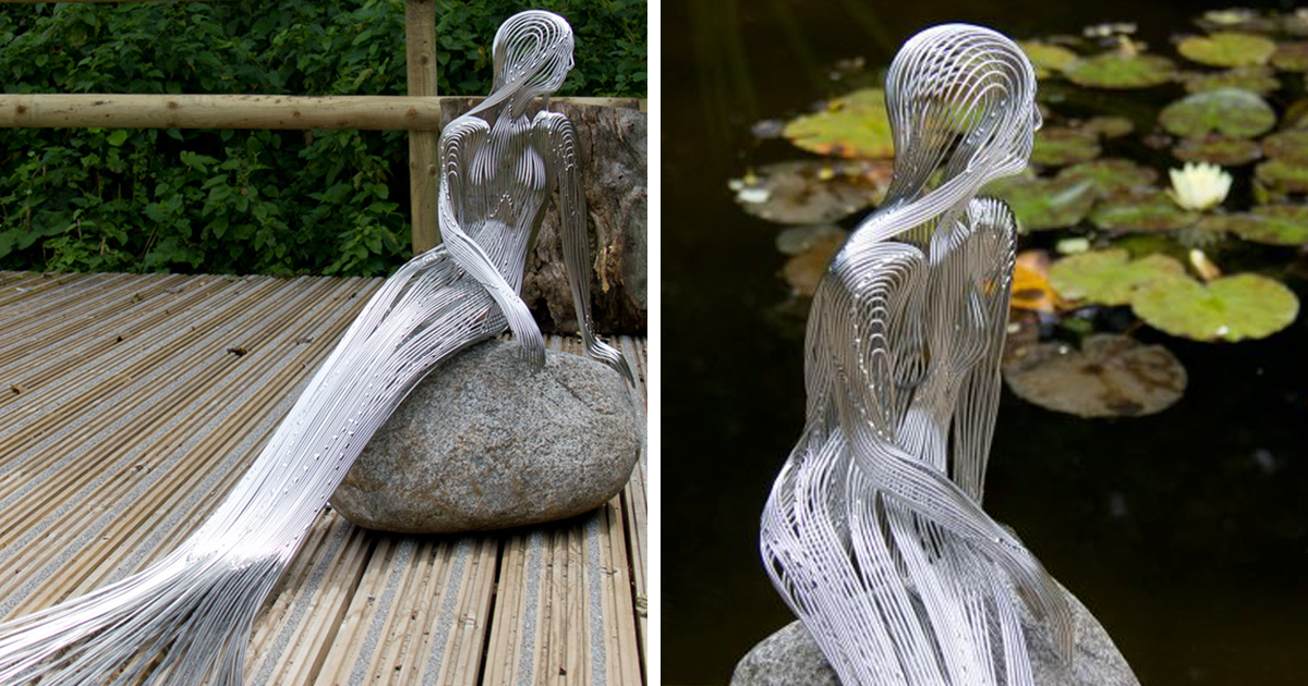 This Artist Turns Steel Wire Into Beautiful Metal Masterpieces That Seamlessly Blend In With Nature