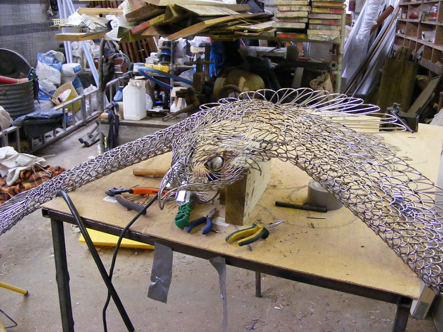 The metal eagle in making
