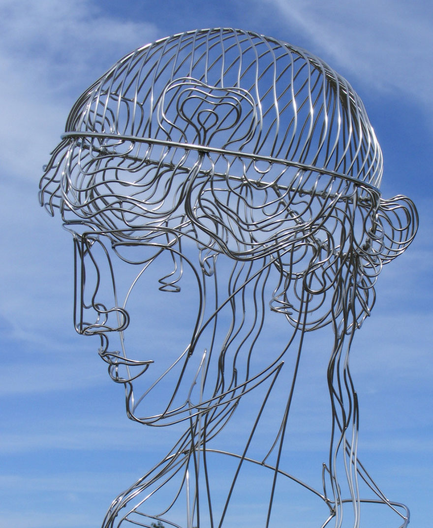 Human face made of steel wire